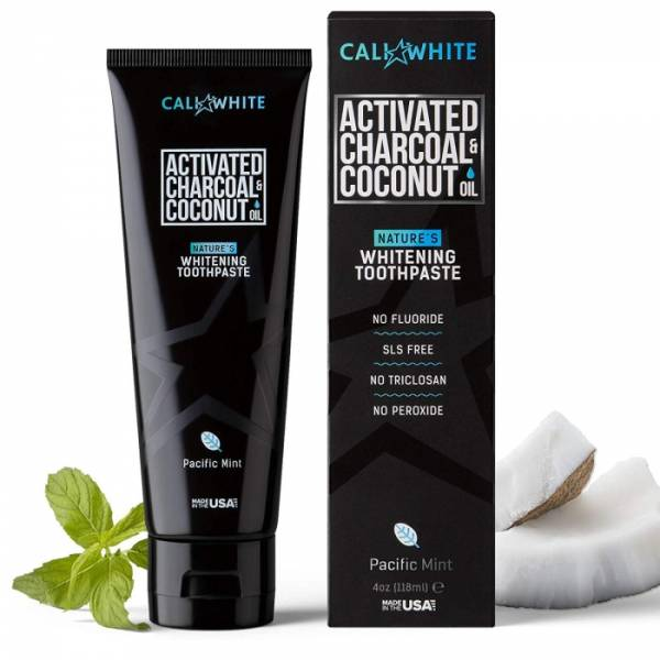 Cali White Activated Charcoal & Coconut Oil Creme Dental Clareador